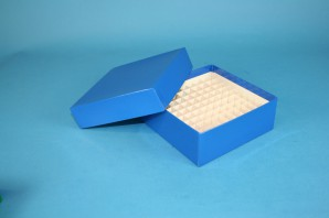 MIKE Cryo Box 50 (cardboard special) / 10x10 grid, blue, height 50 mm