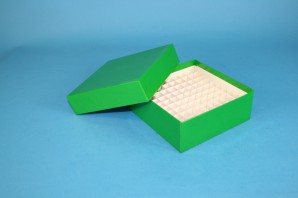 MIKE Cryo Box 50 (cardboard special) / 10x10 grid, green, height 50 mm