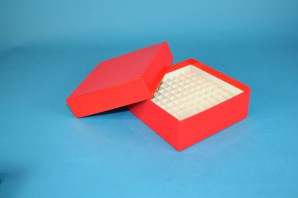 MIKE Cryo Box 50 (cardboard special) / 10x10 grid, red, height 50 mm