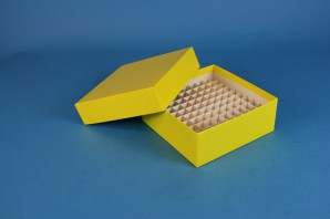 MIKE Cryo Box 50 (cardboard standard) / 10x10 grid, yellow, height 50 mm
