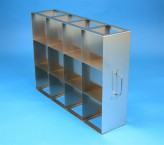 ALPHA 130 cryo cabinet rack 4x3 compartments for 12 Cryo boxes up to 136x136x133 mm folding handle, open frame