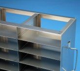 ALPHA 32 cryo cabinet rack 5x9 compartments for 45 Cryo boxes up to 136x136x35 mm folding handle, open frame