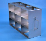 ALPHA 75 cryo cabinet rack 3x3 compartments for 9 Cryo boxes up to 136x136x78 mm folding handle, open frame