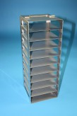 BRAVO 32 vertical rack for 10 cryoboxes up to 133x133x35 mm folding handle, stainless steel