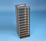 BRAVO 32 vertical rack for 12 cryoboxes up to 133x133x35 mm folding handle, stainless steel