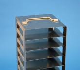 BRAVO 32 vertical rack for 17 cryoboxes up to 133x133x35 mm folding handle, stainless steel