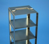 BRAVO 75 vertical rack for 3 cryoboxes up to 133x133x78 mm folding handle, stainless steel