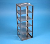 BRAVO 75 vertical rack for 5 cryoboxes up to 133x133x78 mm folding handle, stainless steel