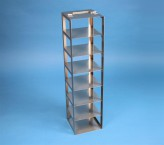 BRAVO 75 vertical rack for 7 cryoboxes up to 133x133x78 mm folding handle, stainless steel