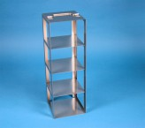 CellBox Mini vertical rack for 4 cryoboxes up to 122x122x128 mm folding handle, stainless steel
