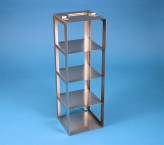 EPPi 102 vertical rack for 4 cryoboxes up to 133x133x103 mm folding handle, stainless steel
