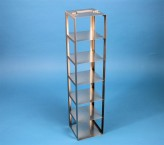 EPPi 102 vertical rack for 6 cryoboxes up to 133x133x103 mm folding handle, stainless steel