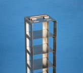 NANU 50 vertical rack for 5 cryoboxes up to 76x76x53 mm folding handle, stainless steel